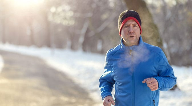 man running in winter